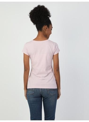 Colin's Slim Fit Kadın Kısa Kol Tişört Pembe